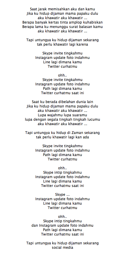 Lirik Lagu The Nelwans Social Media