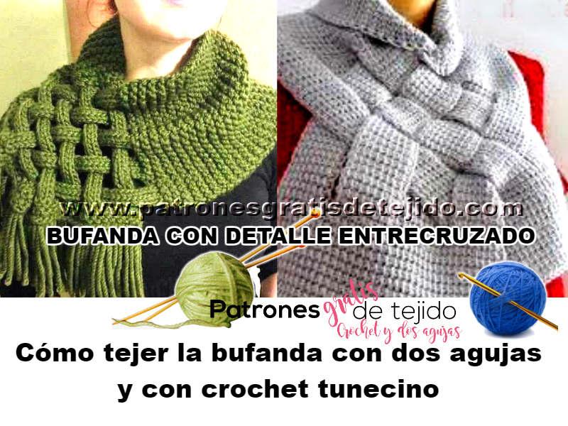 Cómo tejer bufanda con detalle entrecruzado / Tutoriales | Crochet y ...