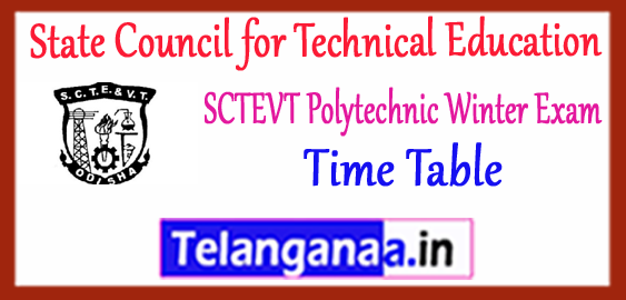 SCTEVT State Council for Technical Education Vocational Training Odisha Diploma 1st 3rd 5th Semester Exam Time Table 2017-18