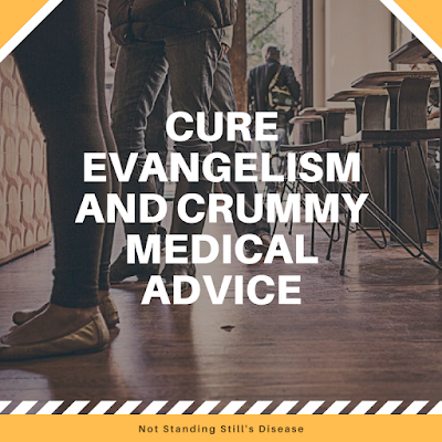 "photo of people's legs as they stand in line for coffee; the upper corners have orange on them diagonally and the bottom has an orange line across it; in the middle of the pic in bold white middle-aligned text: ""Cure Evangelism and Crummy Medical Advice"""