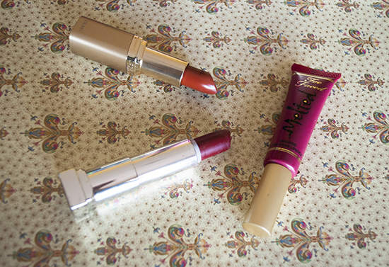 Too Faced Melted Berry, L'OREAL Cinnamon Toast, Maybelline Divine Wine