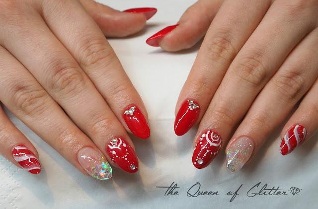 joulukynnet, kynnet, geelikynnet, geelilakkaus, helpot kynsikoristelut, The Queen of Glitter