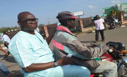 Economic Recession? Gov. Fayose Spotted on Okada Going to His Office in Ekiti (Photos)