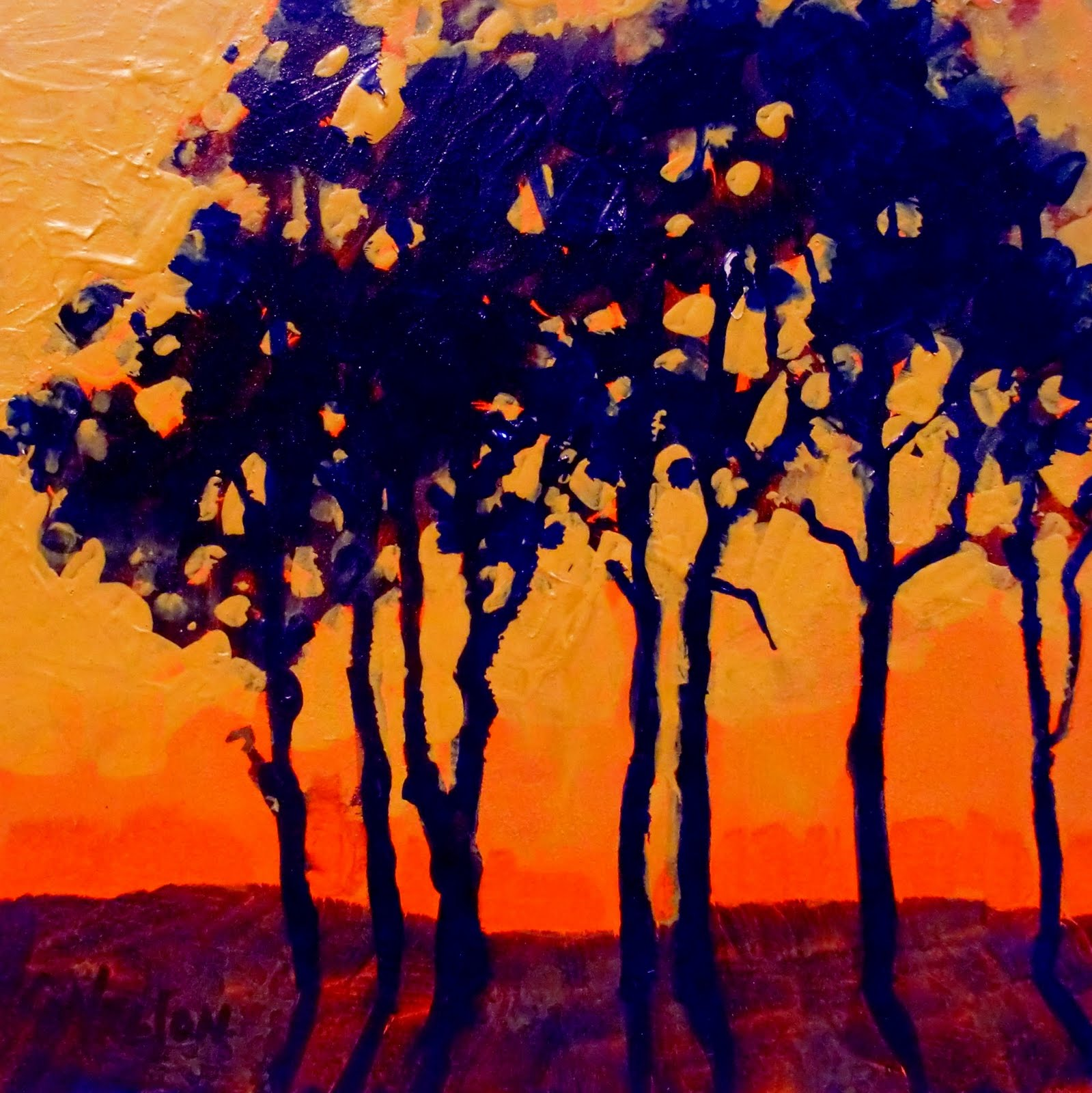 Daily Painters Abstract Gallery SUNSET TREES 11046 Painter