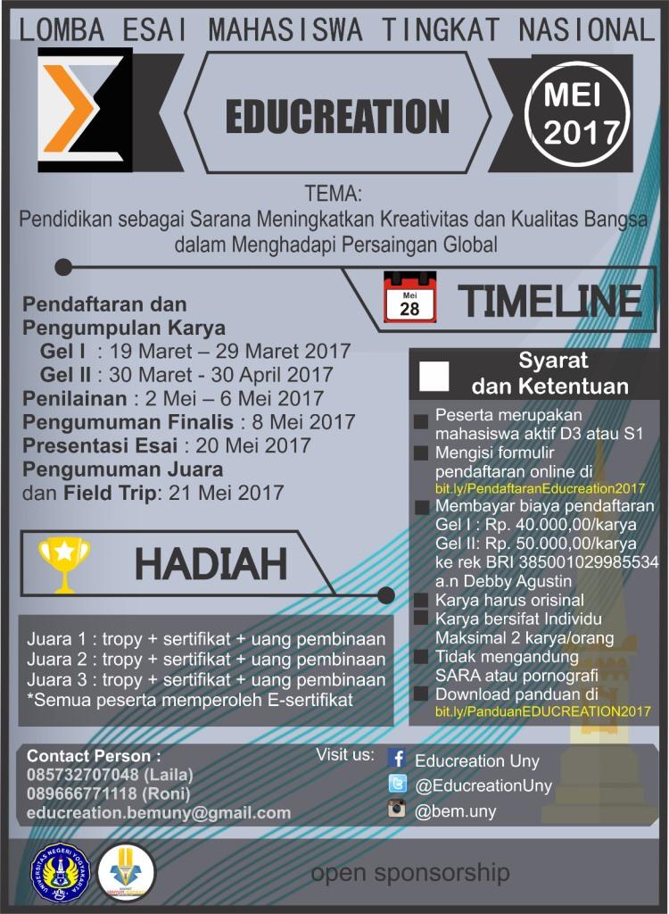Lomba Esai Nasional Educreation 2017 by Univ. Negeri Yogyakarta