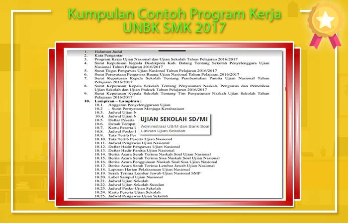 Kumpulan Contoh Program Kerja UNBK SMK 2017