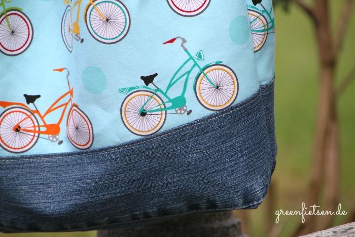 Turnbeutel Onkel Knorke mit Jeans und Fahrrad
