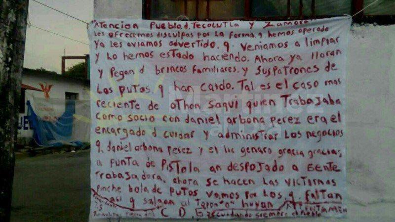 Sicarios del CDG deja dos narcomantas en Tecolutla, Veracruz