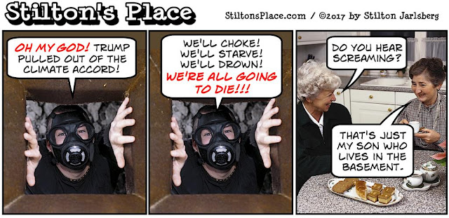 stilton's place, stilton, political, humor, conservative, cartoons, jokes, hope n' change, paris accord, environment, trump, basement, epa