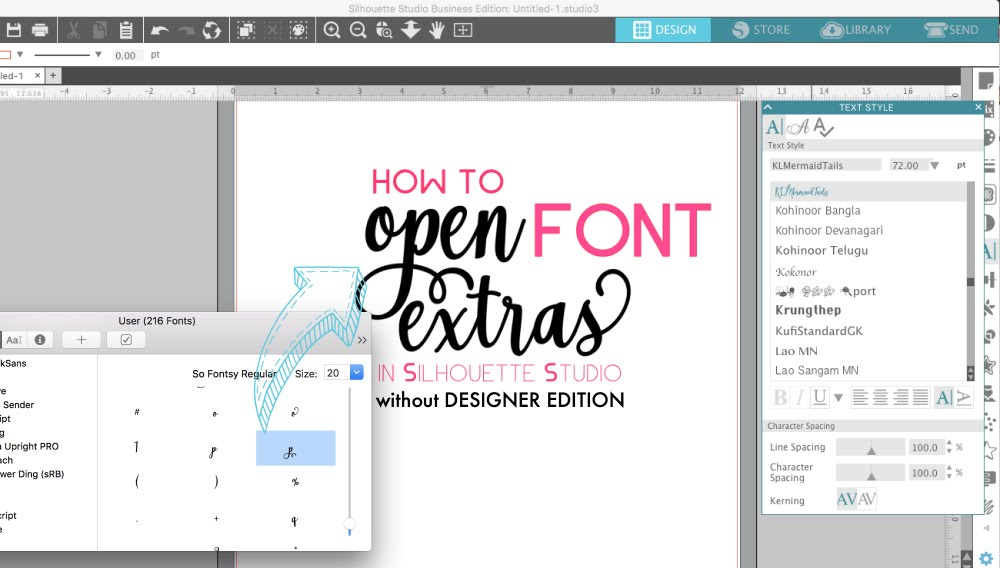 Open Font Special Characters in Silhouette Studio V4 (Without