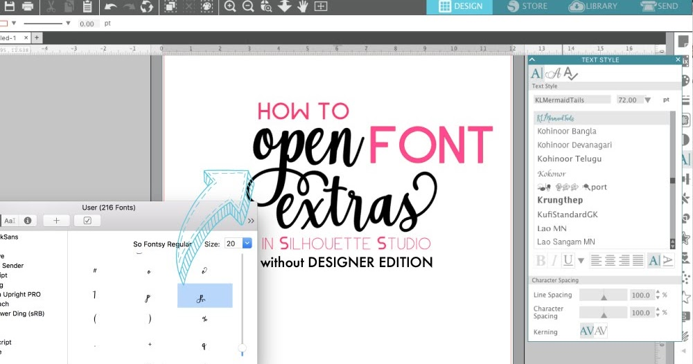 Open Font Special Characters In Silhouette Studio V4 Without Designer Edition Silhouette School