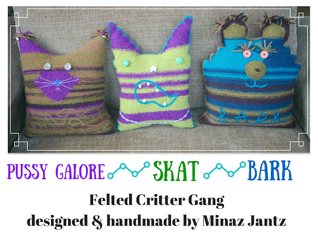 Pussy Galore, Skat, Bark pillows by Minaz Jantz