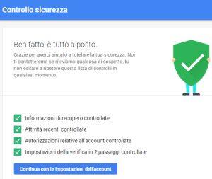 check-up protezione account Google