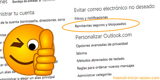 bloquear remitentes en hotmail iniciar sesion