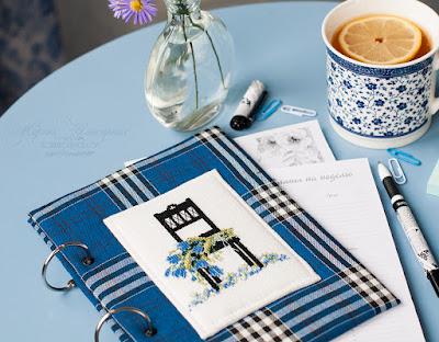 вышивка немецкий дизайн, стульчик с цветами, блокнот синий в клетку