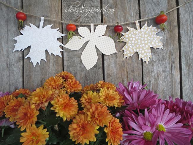 mit Blättern aus Papier eine tolle Herbstdeko basteln
