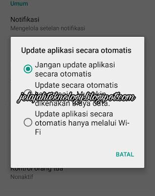 Mematikan update aplikasi otomatis