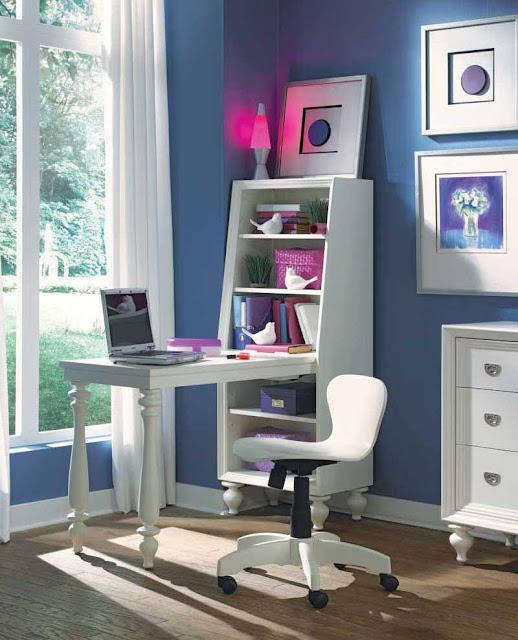 gambar desain meja belajar minimalis keren untuk anak