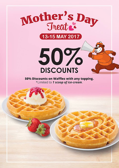 A&W Malaysia Waffles With Any Topping 1 Scoop Ice Cream 50% Discount Promo