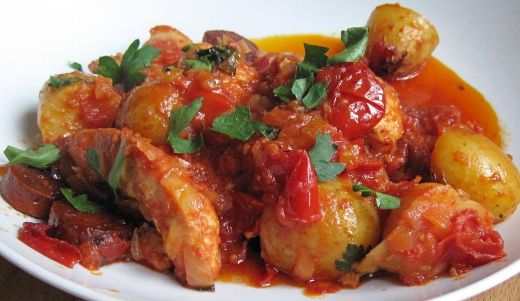 Patatas Bravas with Chicken and Chorizo