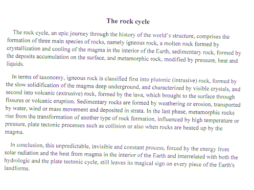 english exams practice ielts writing the rock cycle
