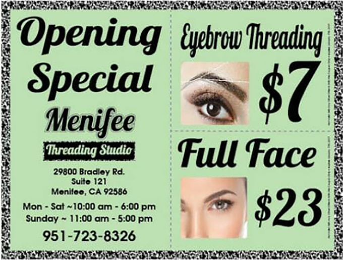 Menifee Threading Studio Offers Special Deals Murrieta 247