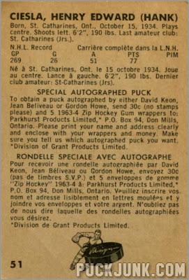 1963-64 Parkhurst #51 - Hank Ciesla