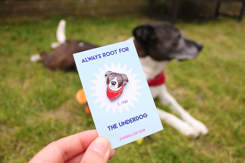 The Underdog pin, designed by Zabby Allen. Gorgeous pin for a dog owner / dog lover and for those pingame strong fans.