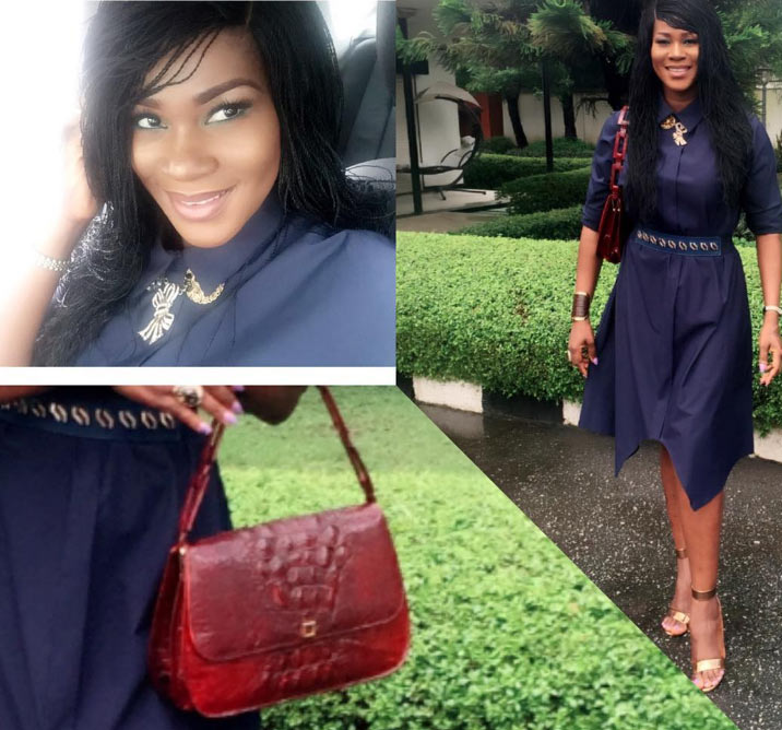 Actress Stephanie Linus flaunts her made-in-Naija croc bag