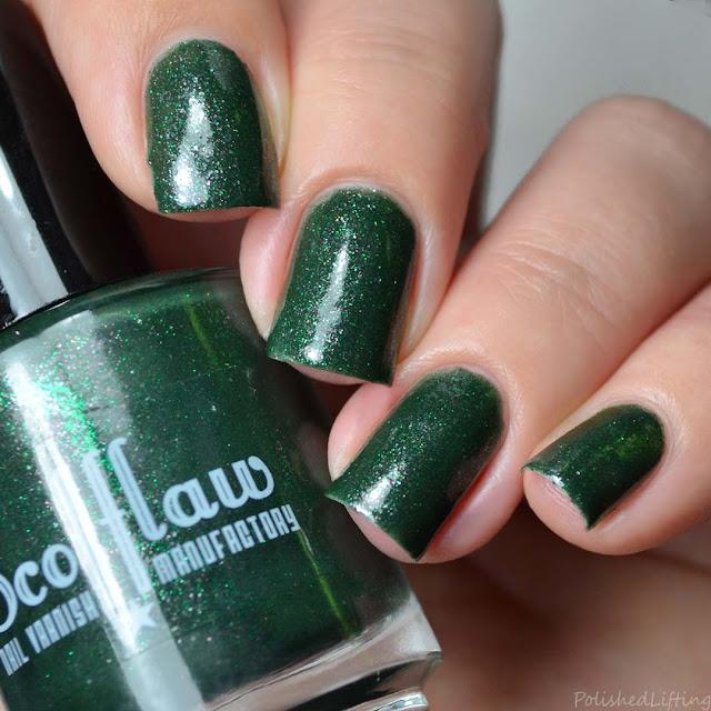 green micro glitter nail polish