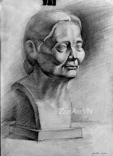 học vẽ cấp tốc thi khối h, tượng bà già, lướp dạy vẽ tphcm