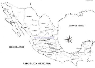 Mapa de Mxico con divisiones y nombres de Estados El mapa de la