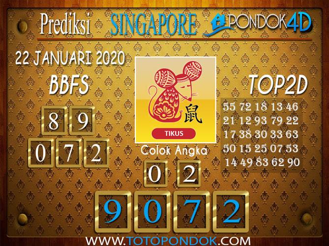 Prediksi Togel SINGAPORE PONDOK4D 22 JANUARI 2020