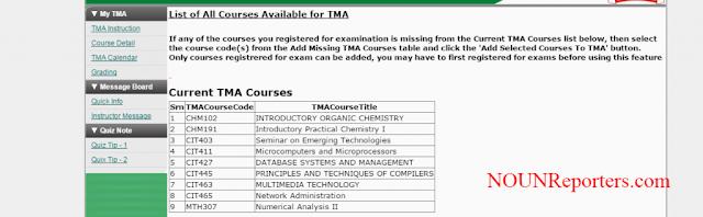 Current NOUN TMA Courses