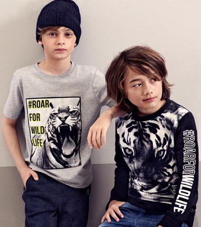 camisetas niños animales colección H&M y WWF