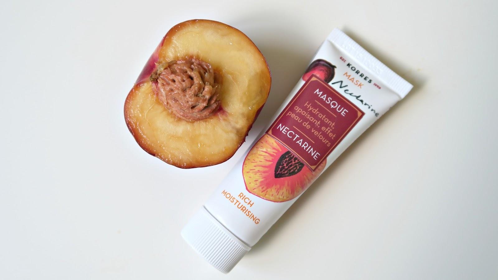 masque effet peau de velours hydratant et apaisant à la nectarine pour le visage de la marque korres