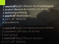 Verpackung Lieferumfang: smartLAB profi-I Oberarm Blutdruckmessgerät. Sie erhalten das Baugleiche smartLABprofi+ anstelle. Hinweise bitte lesen