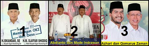 Tiga Pasangan calon Bupati dan wakil Bupati Kabupaten Ogan Komering Ilir (OKI) 2018