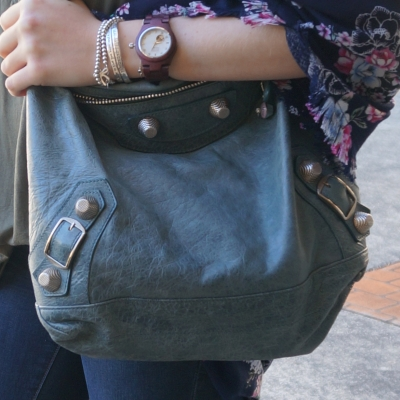 Cora purpleheart and mother of pearl watch floral kimono Balenciaga day bag | AwayFromTheBlue