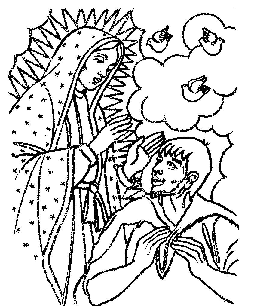 Tarjetas Y Oraciones Catolicas Virgen De Guadalupe Dibujos Blanco