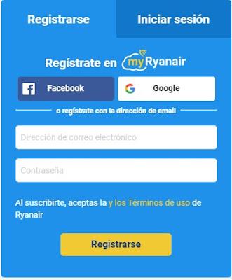 Formulario para acceder a Ryanair