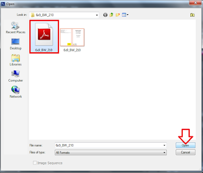 Screenshot: open the pdf template file in photoshop