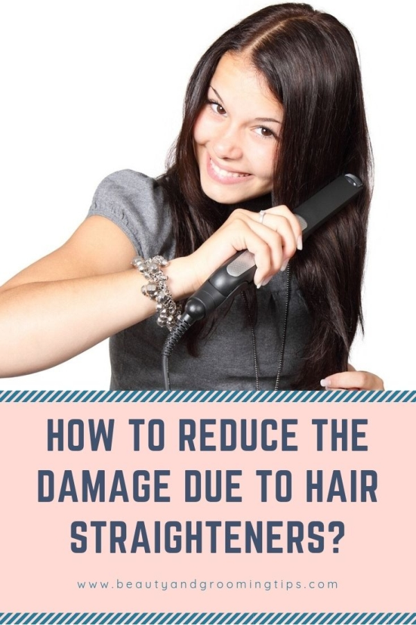 girl using hair straightener