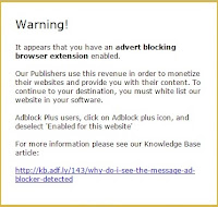 Mensaje Adfly usuarios Adblock