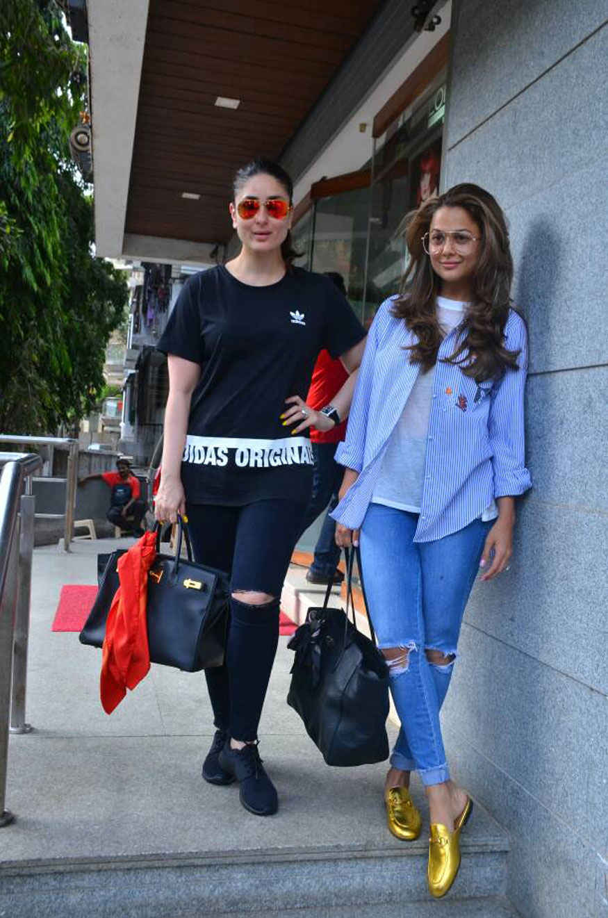 Kareena and Amrita Arora at Freeda Beauty Salon In Bandra