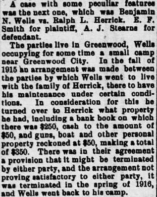 Foreclosure trial Benjamin Wells Versus Ralph Herrick 10/16/1917