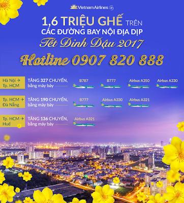 Vietnam Airlines tăng chuyến trên 10 đường bay nội địa dịp Tết Nguyên Đán 2017