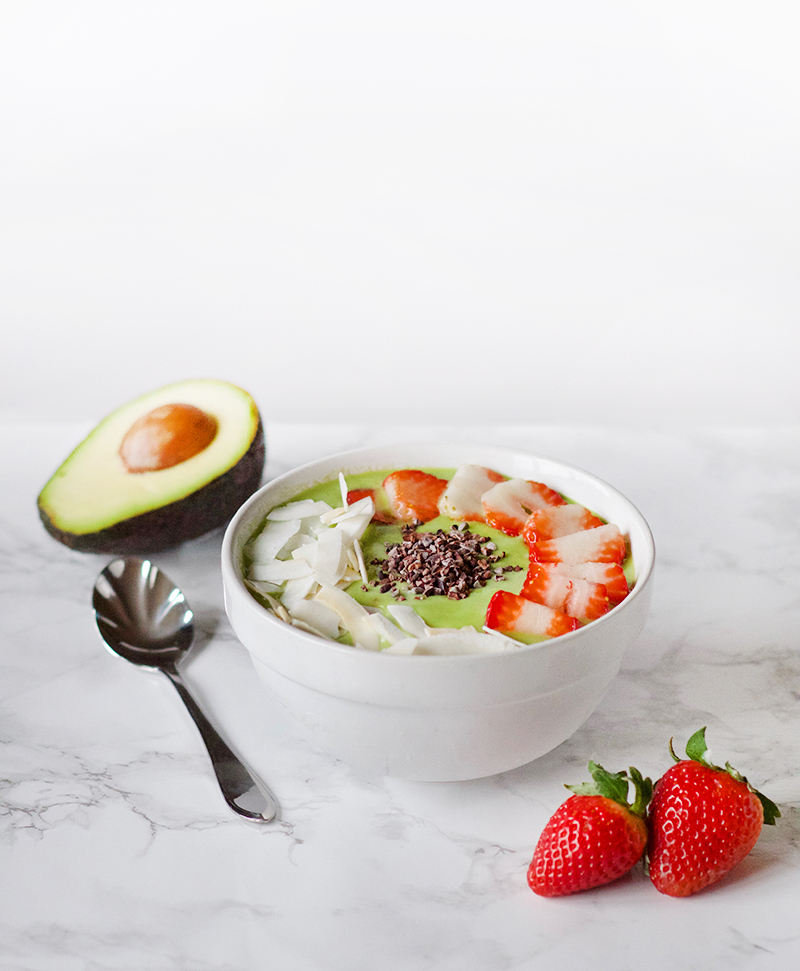 Avocado Green Smoothie Bowl with Strawberry and Coconut | Obsessive Cooking Disorder