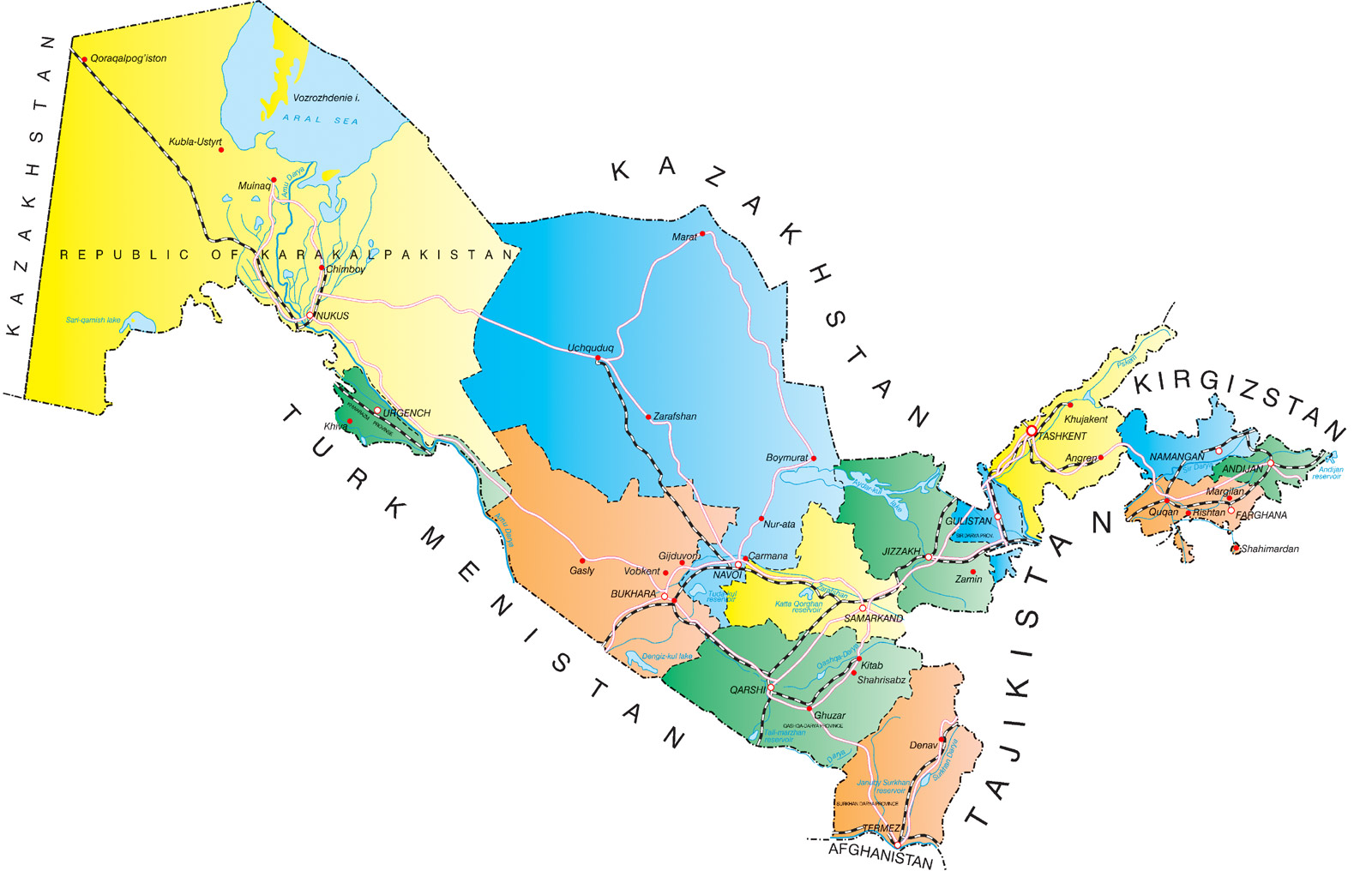 Mapas Geográficos do Uzbequistão
