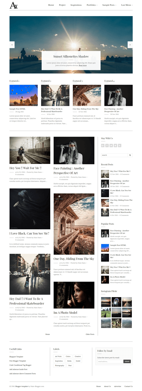 white responsive blogger template